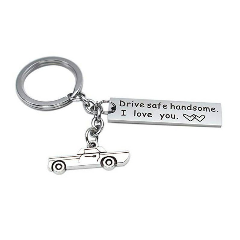 Stainless Steel Silver Drive Safe Personalized Letter Custom Keychain Keyring