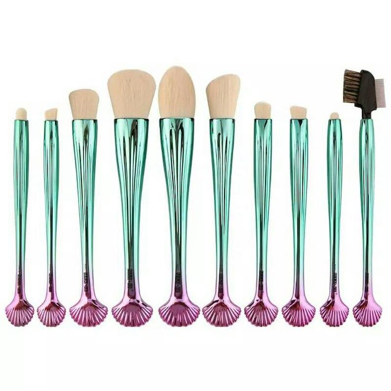 f8f5cc7b589b9 10Pcs Mermaid Shell Design Handle Makeup Brushes Set Face Foundation Powder  Blush Contour Blending Eyeshadow Eyeliner Brushes