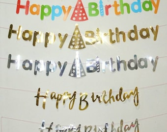 Happy Birthday Banner Bunting 2m Party Idea Backdrop party decorations