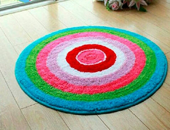Latch Hook Rug Kit Cushion Pollow Mat DIY Craft Rainbow Circle 50x50cm carpet embroidery Cross Stitch Needlework Rug