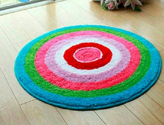Latch Hook Rug Kit Cushion Pollow Mat DIY Craft Rainbow Circle 50x50cm carpet embroidery Cross Stitch Needlework Rug