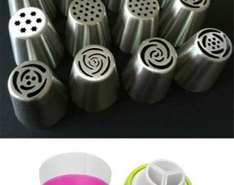 12Pcs Russian Tulip stainless steel Nozzles birthday Cake Cupcake Decorating Icing Piping Nozzles Rose Flower +1 PCS Converter