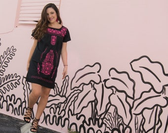 Ethnic, Folk, Hand Embroidered Mexican Dress Loose Style. Black/Hot Pink.