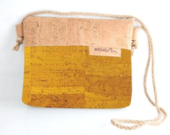 Eco cork handbag - yellow