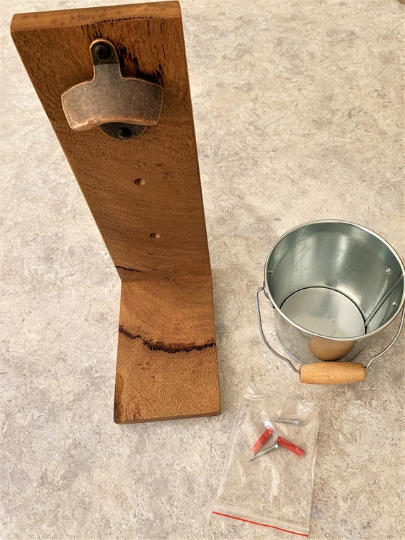 Bottle opener with catching Bucket. Marri Timber (2)