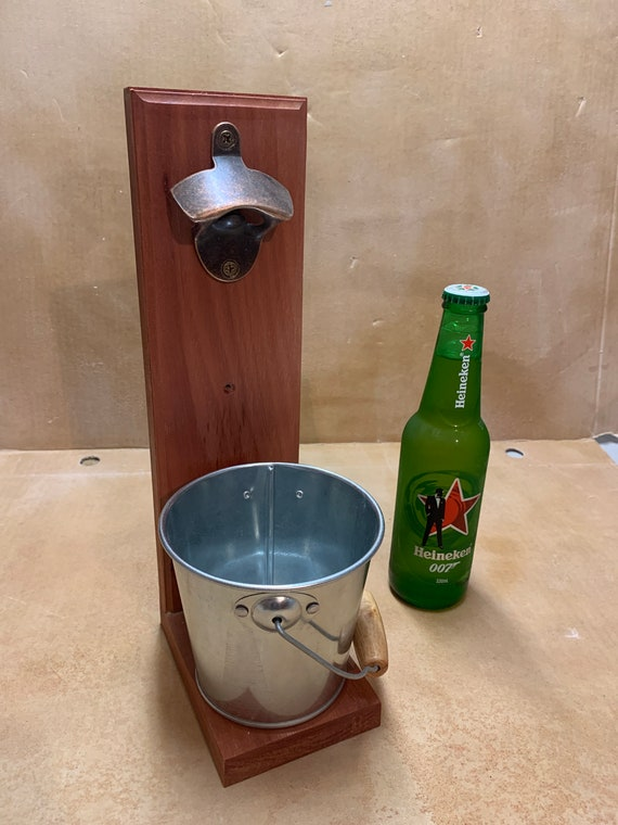 Bottle opener with catching Bucket.  Jarrah