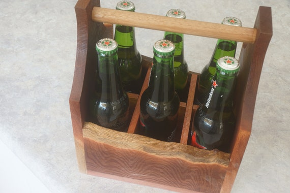 Bottle Carrier 6 pack in Woody Pear with bottle opener.