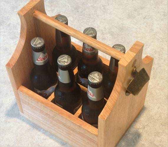 Bottle Carrier 6 pack in Victorian Ash Timber with bottle opener.