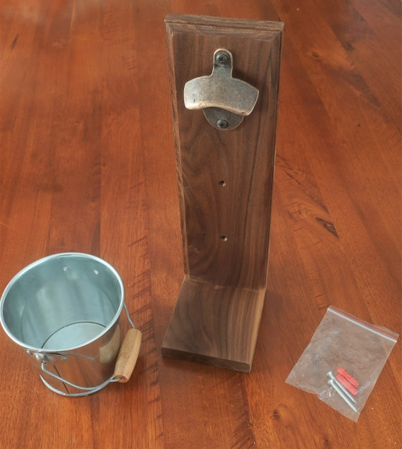 Bottle opener with catching Bucket.  American Black Walnut