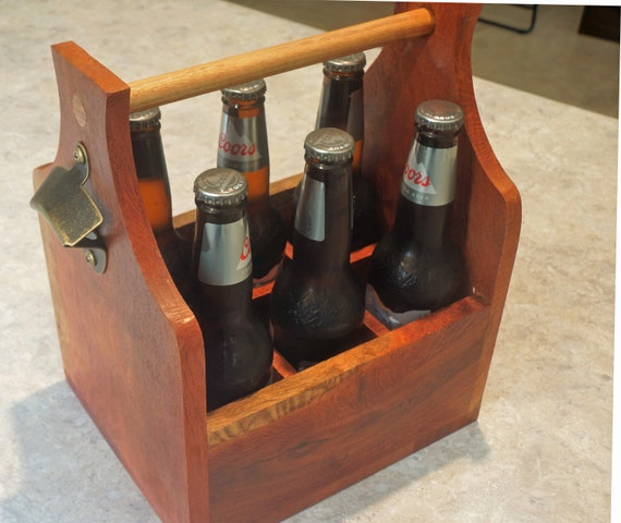Bottle Carrier 6 pack in Woody Pear Timber with bottle opener.