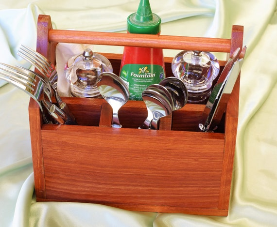 Cutlery Caddy Jarrah Timber