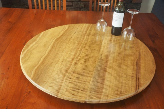 Lazy Susan in  Curly Marri Timber. 800mm Diameter.