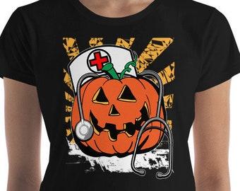 ebc83f71 Halloween T-Shirt, Nurse Shirt, Nurse Costume, Funny Halloween T-Shirt,  Nurse Gift, Cute Halloween, Halloween Pumpkin, Halloween Gift,