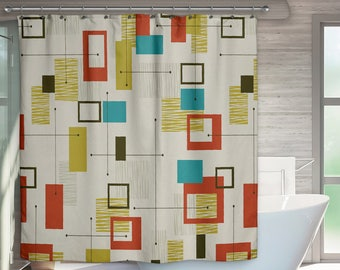 Mid Century Modern Shower Curtain Retro Bath Bathroom Art Gift For Christmas
