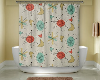 Mid Century Modern Shower Curtain Retro Bath Atomic Era Decor Bathroom Gift For Christmas