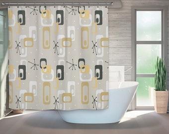 Mid Century Modern Shower Curtain Retro Bath Bathroom Art Gift For Christmas