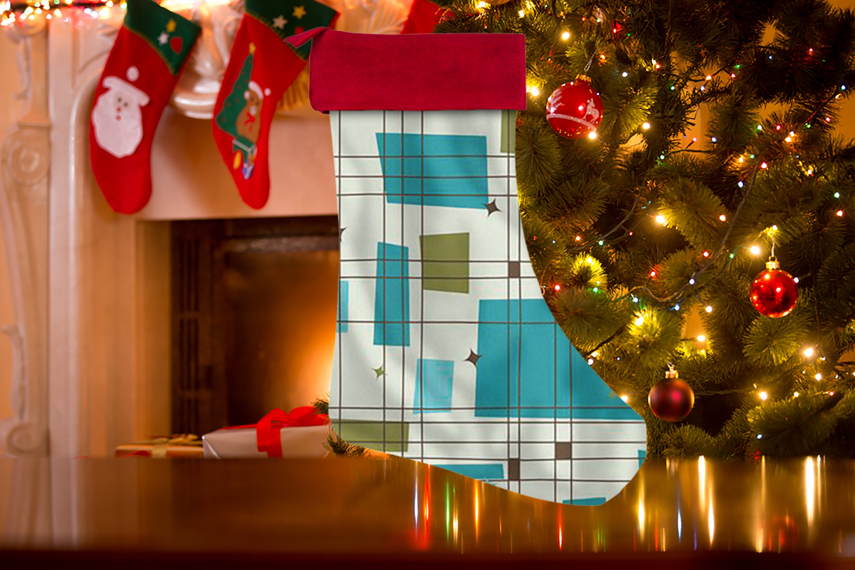 zoom Mid Century Modern Christmas Stocking Mid