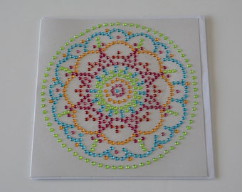 Mandala card with green round Crystal beads