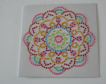 Mandala card with circle pink and Red Crystal beads