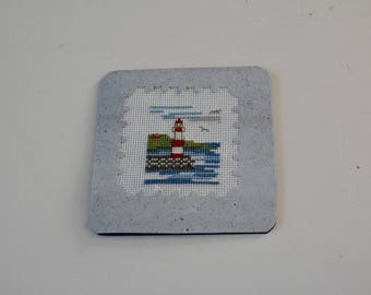 """Embroidered card """"The LIGHTHOUSE"""" between land and sea"""