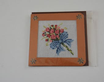 """Embroidered card """"the ROSE BOUQUET"""
