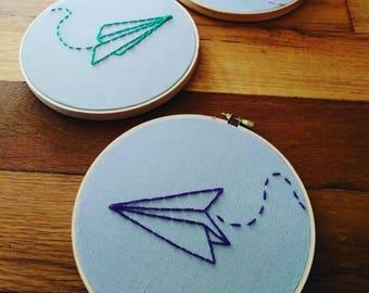 Paper Airplane - Hand Embroidery Hoop Art - Wall Art - Modern Nursery Art - Embroidery Artwork - Custom Embroidery Art - Kid's Art -
