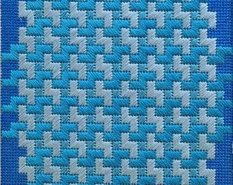 Small monochrome needlepoint kit. Maze Turquoise