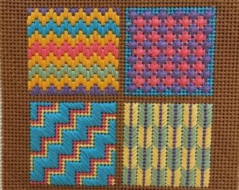 Small Needlepoint Sampler Kit / Brown #3