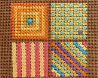 Small Needlepoint Sampler Kit / Brown #1