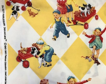 Vintage collectible fabric / Michael Miller Dick and Jane Harlequin (BTHY) 50x110cm coupon, retro fabric COLLECTOR!