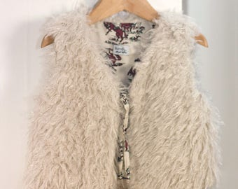 Shepherd reversible vest faux fur fluffy and vintage cotton