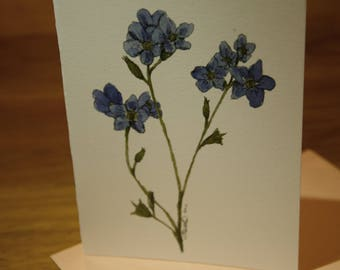 Forget-me-not - Perfect for Valentines Day! - Floral Blank Greeting Card - Ink & Watercolour - Art