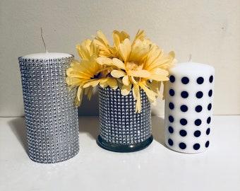 Rhinestone brush holder! Rhinestone holder! Bling rhinestone make-up room decor! Salon decor! Bling decorative vase! Silver rhinestones & Bling makeup holder | Etsy