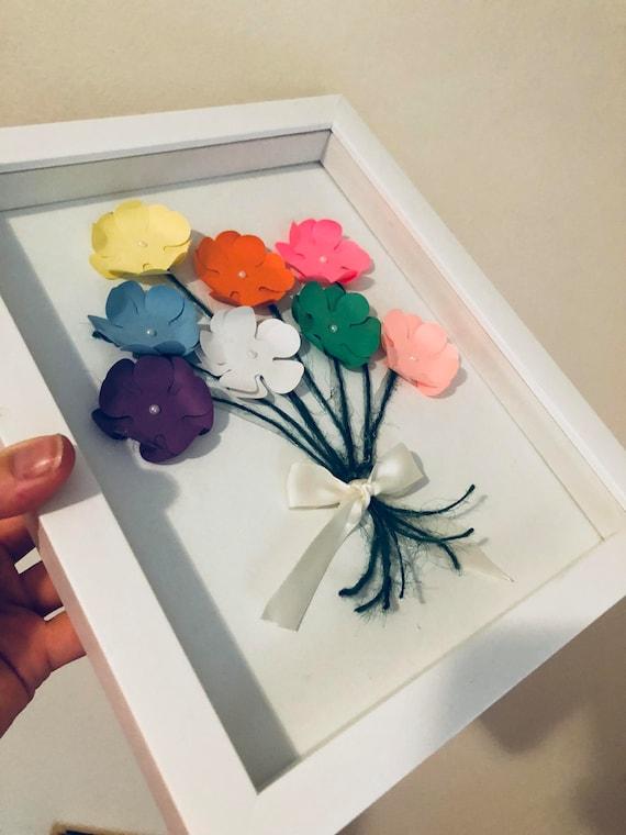 Papierowe Kwiaty Grafika Papier Kwiaty ścienne Artdekoracje ścienne Ręcznie Dziurkowane Kwiaty Papieru W Ramce Box Cień Przedszkola ścianie