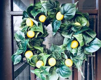 Lemon wreath! Front door lemon wreath! Holiday wreath!