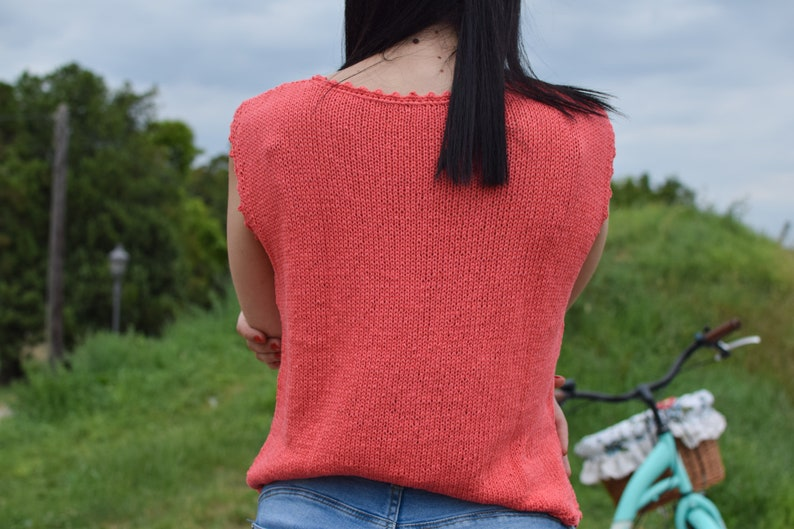 light red summer blousecrochet women topknitted red blousesleeveless topred topsummer toplace blouse