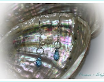 Blue and silver Swarovski crystals earrings