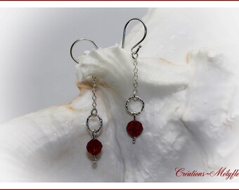 Red and silver Swarovski crystals earrings