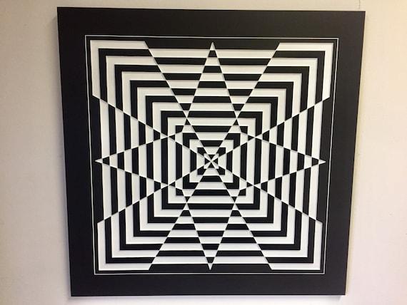 Print Poster Abstract Geometric Stars 3D Optical Art Interior Wall Decor