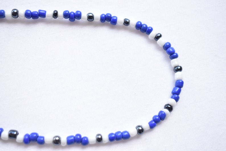 Seed Bead Glass Choker Necklace  Blue White Black Glass Adjustable Necklace  Beaded Glass Patterned Choker Necklace  Gift for Her