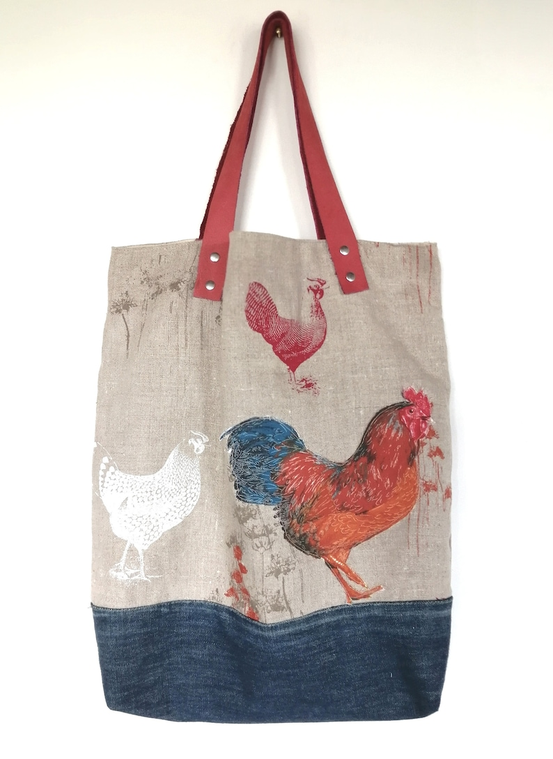 design intemporel 4cdda c53a8 Large SAC CABAS DENIM and recycled linen