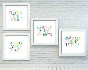 Charmant Kids Bathroom Art Set, PRINTABLE Art, Flush The Toilet, Wash Your Hands,  Brush Your Teeth, Colorful Bathroom Wall Decor, Bathroom Wall Art