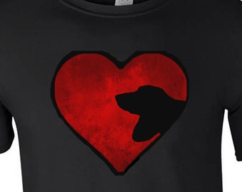 T shirt with Basset Hound Dog silhouette in an Arty Painted Heart Design Tee Shirt, Black Tee Basset Hound Gift