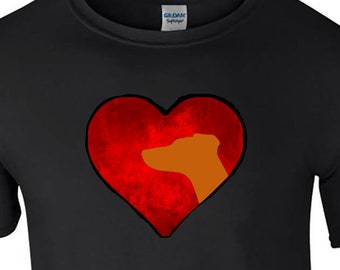 T shirt with Hungarian Vizsla silhouette in an Arty Painted Heart Design Tee Shirt, Black Tee Vizsla Dog