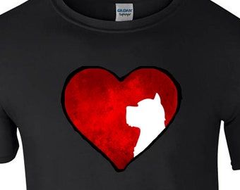 T shirt with West Highland White Terrrier Dog silhouette in an Arty Painted Heart Design Tee Shirt, Black Tee Westie Dog
