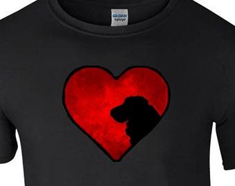 T shirt with Cocker Spaniel Dog silhouette in an Arty Painted Heart Design Tee Shirt, Black Tee Cocker Spaniel