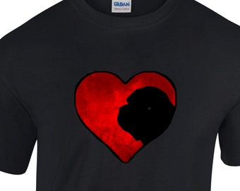 T shirt with Mastiff / Dogue silhouette in an Arty Painted Heart Design Tee Shirt, Black Tee Dogue or Bull Mastiff Gift