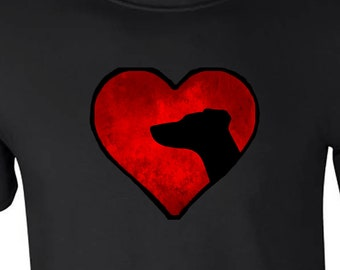 T shirt with Pointer Dog silhouette in an Arty Painted Heart Design Tee Shirt, Black Tee Pointer Dog