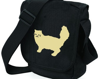 7478cb0057 Cat Bag for Cat Lover Persian Silhouette on Mini Messenger Shoulder Bags  Ideal Gift for Persian Cat Owner. Zipped pocket