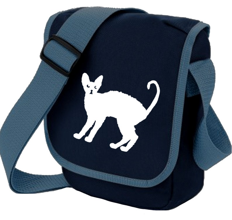 Zip pocket Colour Choices Cat Bag for Cat Lover Cornish Rex Silhouette Mini Messenger Shoulder Bags Ideal Gift for Cornish Rex Cat Owner